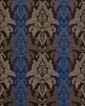 Damast behang EDEM 770-37 Barok behang structuur vinylbehang donker bruin blauw zilver
