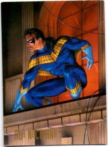 23- Ala Nocturna    Después de que sus padres fueron asesinados, Dick Grayson pasó la mitad de su vida entrenando con Batman, como Robin el Chico Maravilla. Cuando se dio cuenta que no quería terminar como el Hombre Murciélago, Grayson, ya mayor se independizó como Ala Nocturna. Un fantástico acróbata, con filosas habilidades deductivas. Ala Nocturna busca retomar el liderazgo de los Nuevos Titanes de Arsenal.