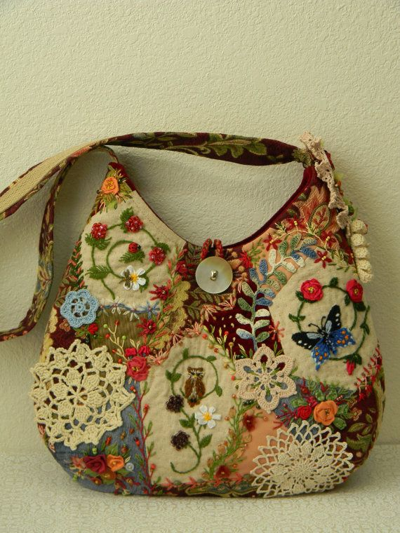 Crazy Quilt Shoulder Bag-Hand Embroidered by AllasOriginals