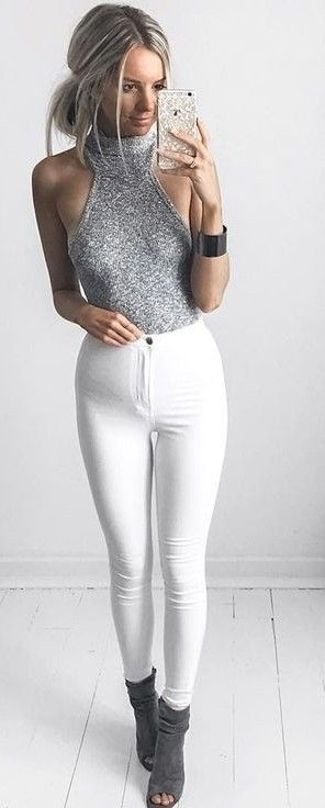#summer #kirstyfleming #outfits   Grey Knit Top + White Super High Waisted Skinnies