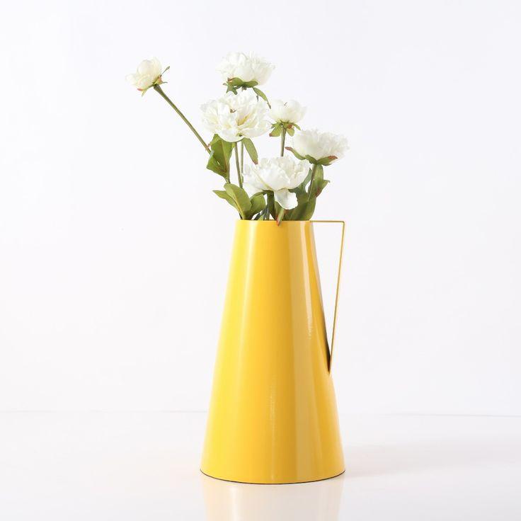 Водонепроницаемый Чайник Форма Современный Большой Темно-Желтый Металл Ваза для цветов Дома и На Открытом Воздухе Украшения(China (Mainland))