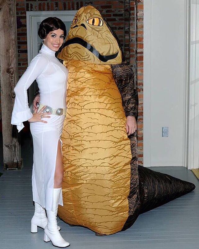 23 Star Wars Costumes For Couples Strong With the Force Princess Leia and Jabba the Hutt