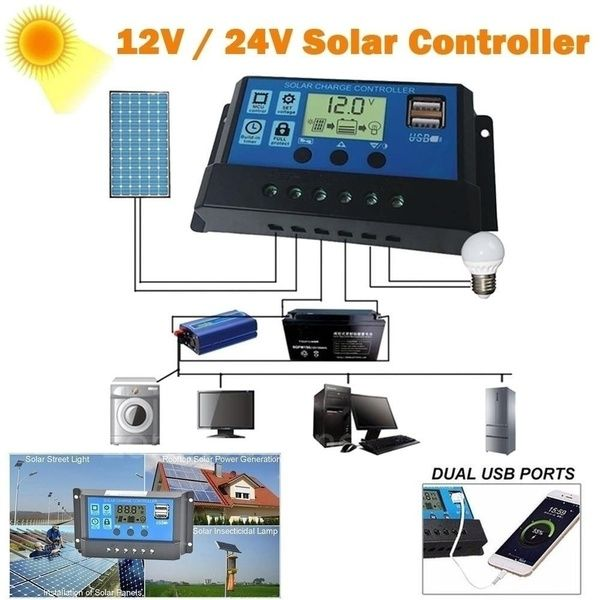 2020 New 12v 24v 5a 10a 40a 50a 100a Mppt Lcd Auto Work Solar Charge Controller Cell Panel Charger Pwm Dual Usb Output Charger Solar Panel Regulator Wish In 2020 Dual Usb Solar Panel Battery