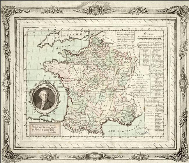 La carte de France de 1789 éditée par Louis-Charles Desnos. Gravure, 23 x 18 cm Archives nationales, NN/37/3 © Archives nationales, France