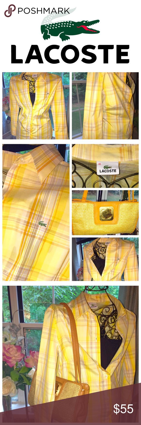 Ladies Lacoste Button Down Shirt w/ Mark Clutch Ladies, I am offering you these 2 new items. The Lacoste button down shirt is a European size 40 which is a 10 usa, however , Lacoste does run small. Great end of the summ we shirt into fall. It has never been worn. The MARK STRAW CLUTCH WITH GOLD TURNLOCK HARD WARE IS A GREAT COMPLIMENT. Use it with anything. Please ask questions . Lacoste Tops Button Down Shirts