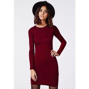 Rainey Long Sleeve Bodycon Dress Oxblood - Dresses - Bodycon Dresses - Missguided