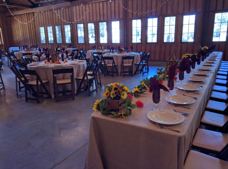 Head Table with Rounds at Bret Harte Hall- Roaring Camp Weddings http://www.roaringcamp.com/wedding