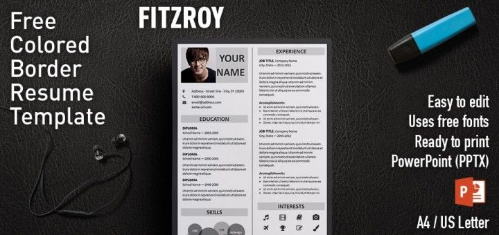 Fitzroy Free Border Powerpoint Resume Template  Resume  Cv For