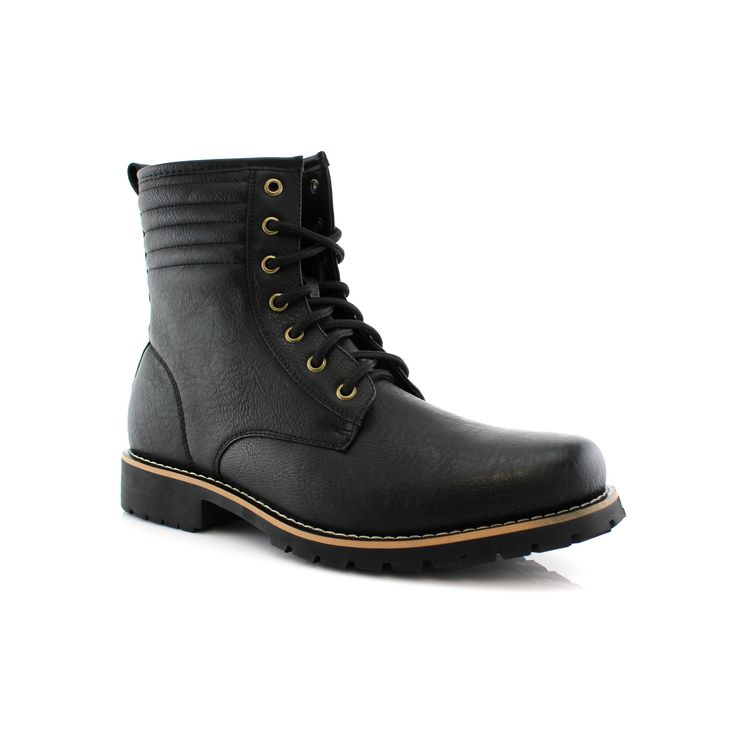Polar Fox Brian MPX508568 Men's Combat Boots With Lace-up and Synthetic Wool Lining For Work or Casual Wear