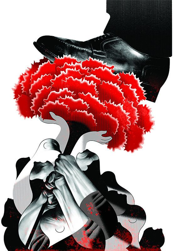 https://flic.kr/p/nk4wMP | 25 Abril | 25th April.  Published in April 2014.  2014 marked the 40th anniversary of the Carnation Revolution, that ended almost 50 years of fascist dictatorship in Portugal. This illustration was included in the book 40 x Abril, published by Abysmo, out May 15th 2014. The book featured illustrations and texts of 40 artists.