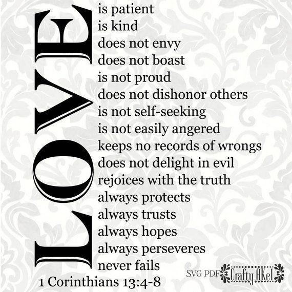 Download 1 Corinthians 13:4-8 Love is patient, love is kind. It ...