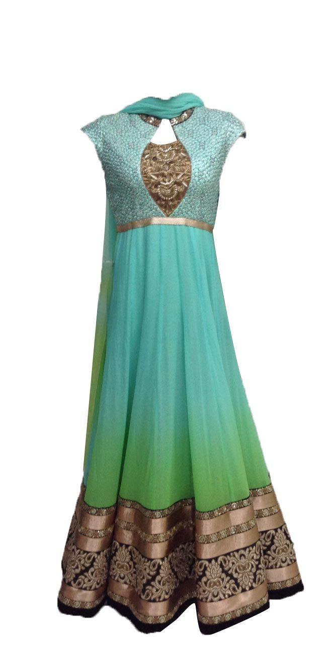 Mint Green Floor Length Anarkali — Palanquine — Casual Salwaar Kameez | Indianhanger.com