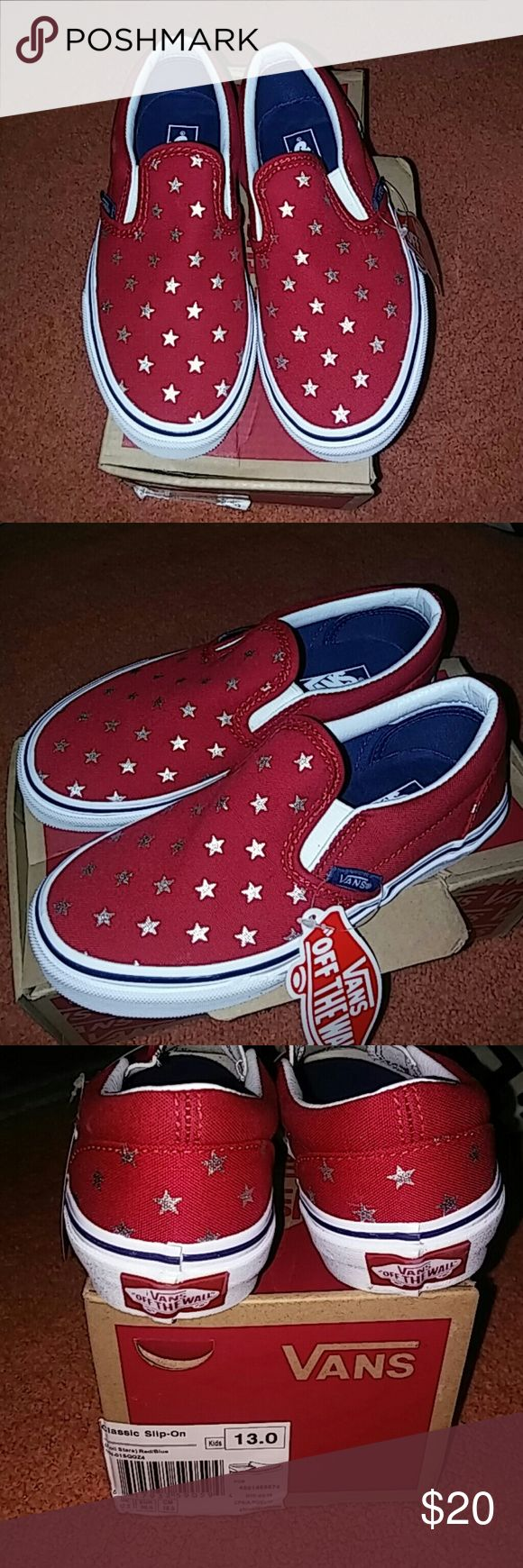 Nib red white and blue slip on girl vans These are a new pair of girls size 13 red white and blue with metallic Stars slip-on Vans Vans Shoes