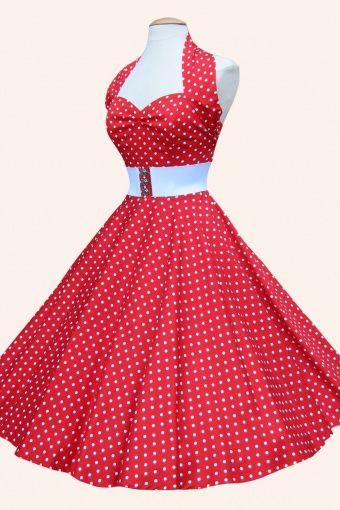 1950s retro swing dresses - halter Red White Spot dress cotton sateen