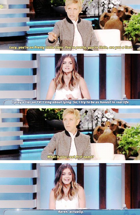 If you watch pretty little liars this would make a lot of sense. This made me laugh since Lucy Hale changed her name to Lucy.