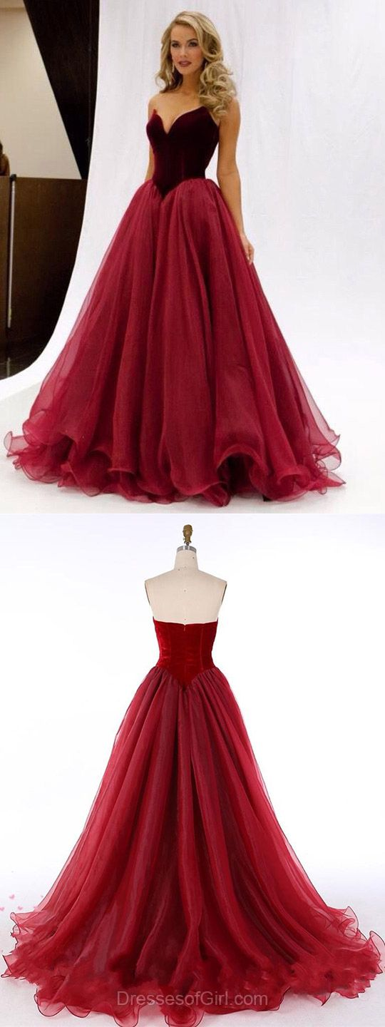 Burgundy Princess V-neck Organza Floor-length Ruffles Popular Prom Dresses