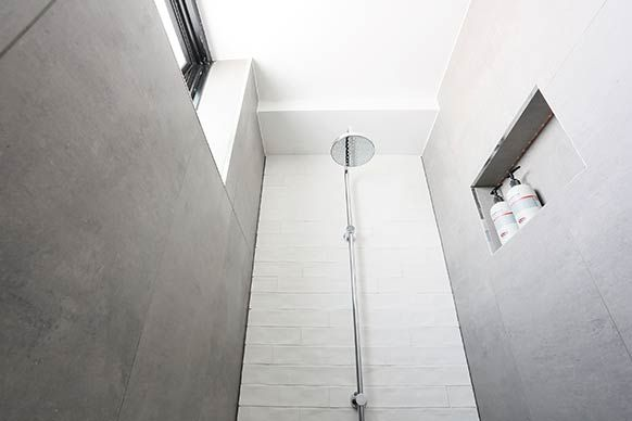 Love the white & grey Madi + Jarrod: Guest EnsuiteWe tour all of the bathrooms of The Block Sky High.
