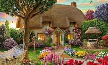 Darmowe Puzzle Online Najpopularniejsze Puzzle W Minionym Tygodniu Puzzle Ukladanki Gry Krajobrazy Kwiaty Cottage Garden Cottage Art Dream Cottage