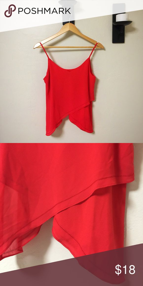 Red cami Tomato red cami with cute hem detailing in like new condition. Worn once. Size small Naked Zebra Tops