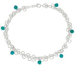 Turquoise Bead Dangle Sterling Silver Ankle Bracelet