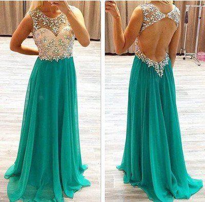 Backless Prom Dresses,Charming Prom Dresses,Turquoise Prom Dress,Long – Princesssbride
