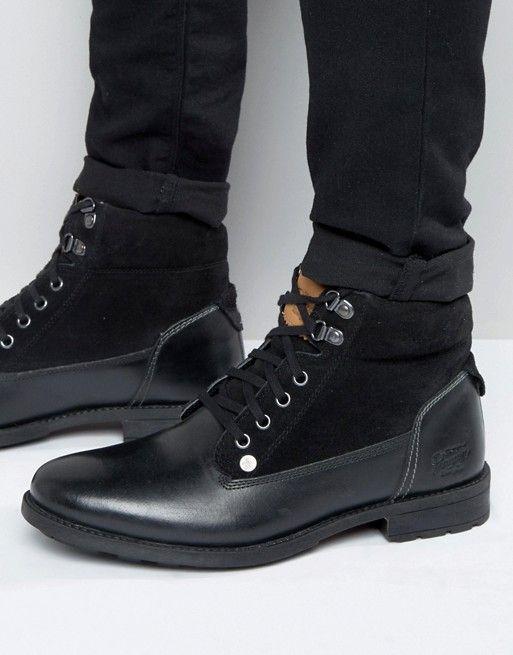 Original Penguin | Черные кожаные ботинки на шнуровке Original Peguin