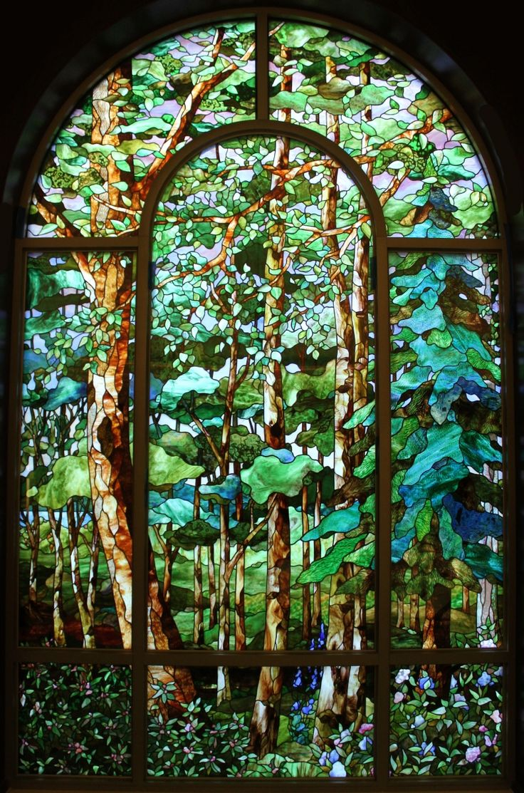 Beach theme decoration stained glass window panels arts crafts -  The Forest Artist Tom Holdman This Has So Much Depth To It It Almost Takes My Breath Away