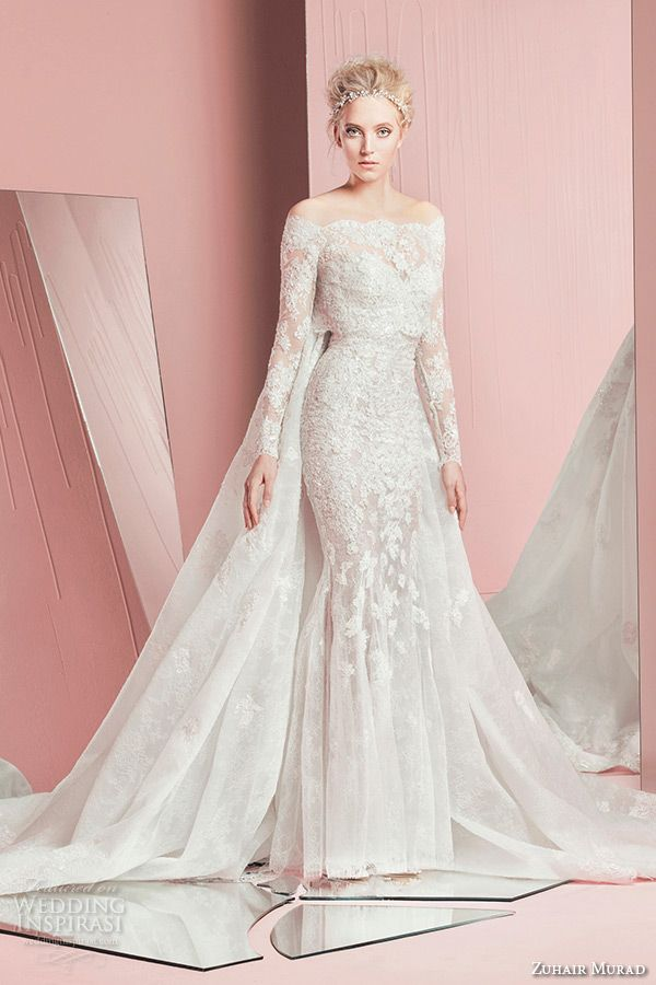 zuhair murad spring summer 2016 bridal strapless sweetheart neckline lace embroidery long sleeves bolero white sheath wedding dress petra with cape watteau train