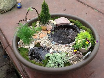 Lets Grow: Fairy Garden Step By Step. Could Use Stone Lined Plastic  Containers For Ponds