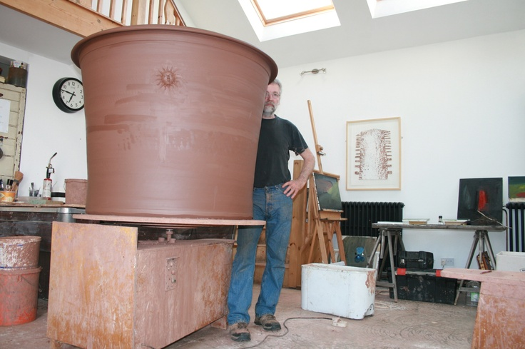 Richard Olive Tree Pot - still drying and needs firing - made on a potters wheel by Tony in the picture (Castle Hill Pottey Wales)