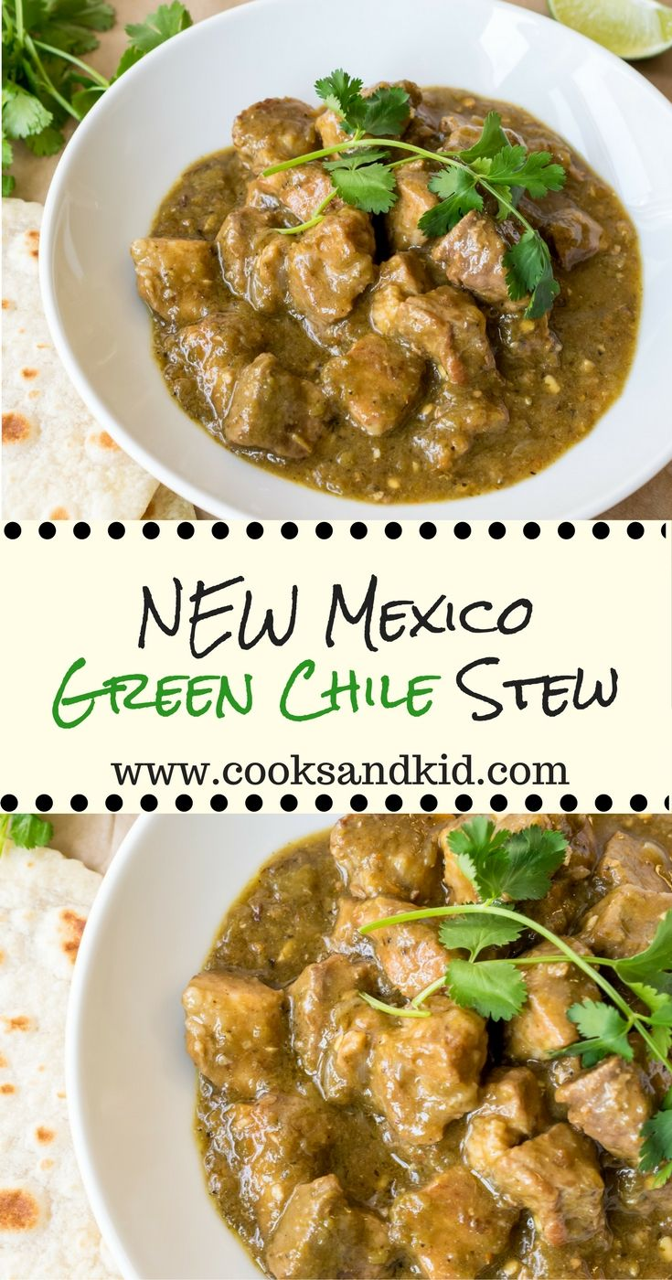 It's Hatch Chile Season! New Mexico Green Chile Stew.. Pork shoulder simmered in Hatch green chiles, cumin and Mexican oregano until fork tender. www.cooksandkid.com