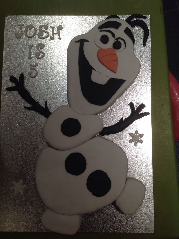 Olaf Chocolate sponge and hand cut shapes covered in fondant icing.