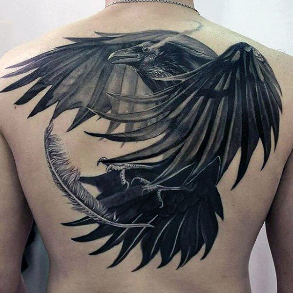 Raven 3D Tattoo With Angel Feather On Back For Men