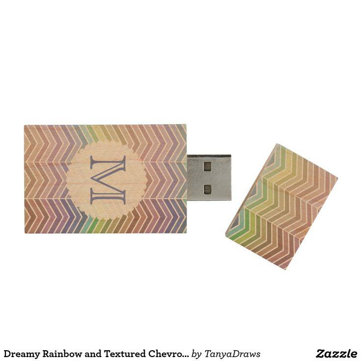 Dreamy Rainbow and Textured Chevron Pattern Wood USB 2.0 Flash Drive