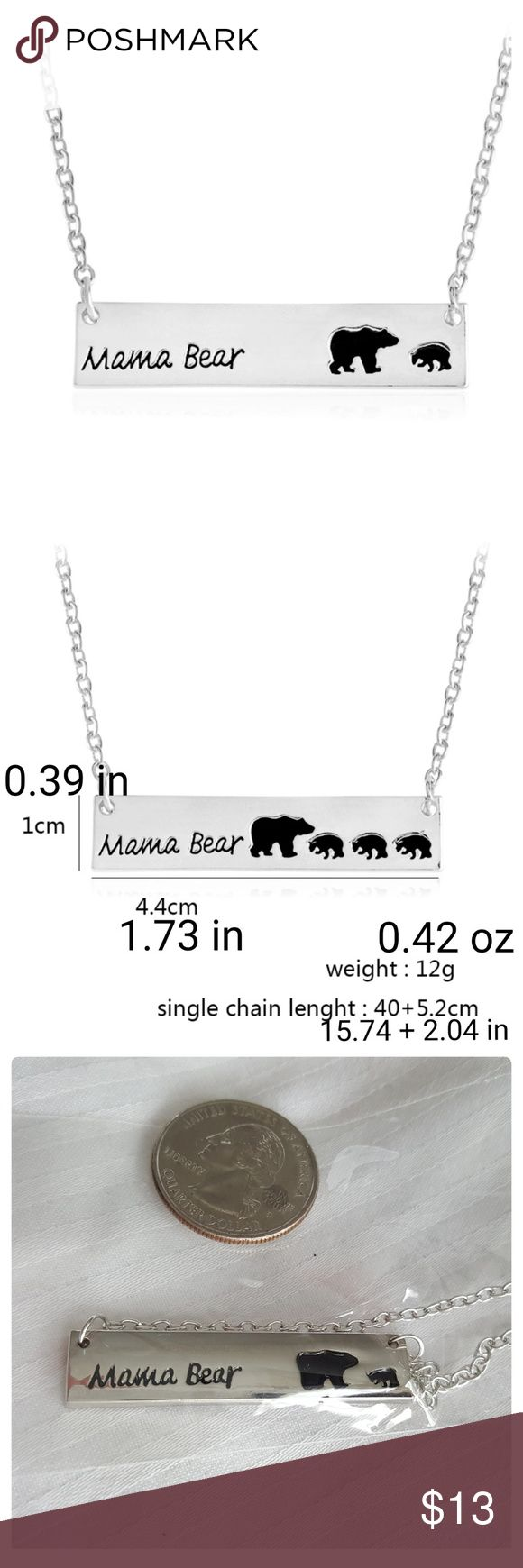 "JUST IN 💕 Mama Bear + 1 cub Necklace Metal: zinc alloy. Nickel,  lead and cadmium free. Weight: 0.042 oz. Size: 0.39"" x 1.73"".   Chain length: 15.74"" plus 2.04"" extension.   Great stocking stuffer gift! Jewelry Necklaces"