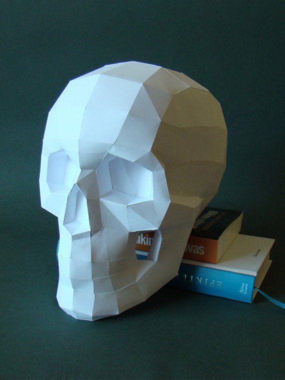 Skull printable DIY pdf template Paper skull Real size