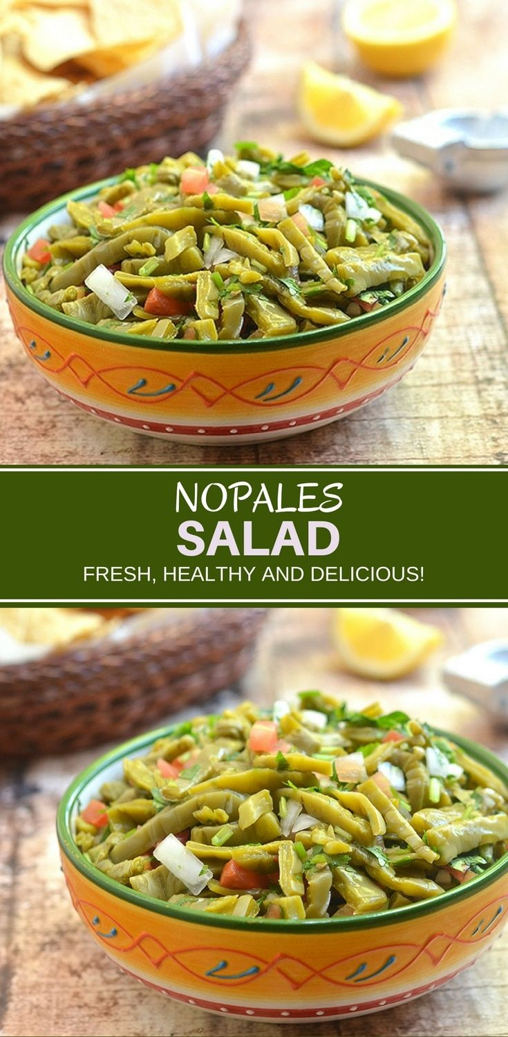 Nopales Salad made with prickly pear cactus, tomatoes, onions, cilantro, chili peppers, and lime juice, isanutrient-packedsalad you'll love. It's fresh, healthy and delicious! #mexicanfood #nopal #nopalessalad #vegetables #recipe #cleaneating #healthyfood #superfood #vegetarian
