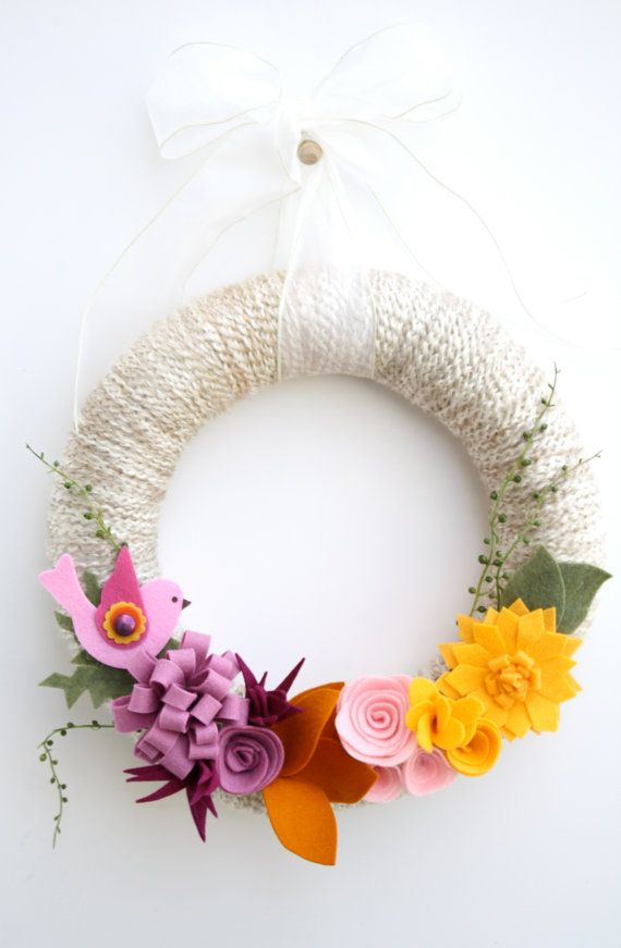 14 Easter/spring yarn wreath  The Ariana by 36thandmain on Etsy, $42.00