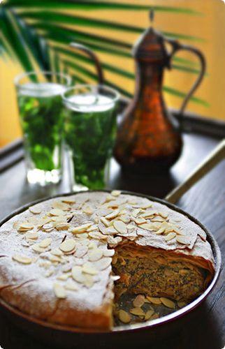 Moroccan Bisteeya: The crown jewel of Moroccan cuisine. A flaky, sugar-dusted meat pastry called bisteeya.