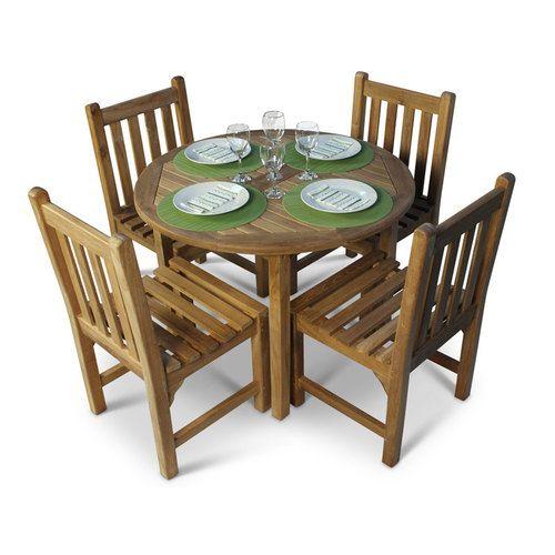 little bistro teak 4 seater garden dining set with round table - Garden Furniture Teak