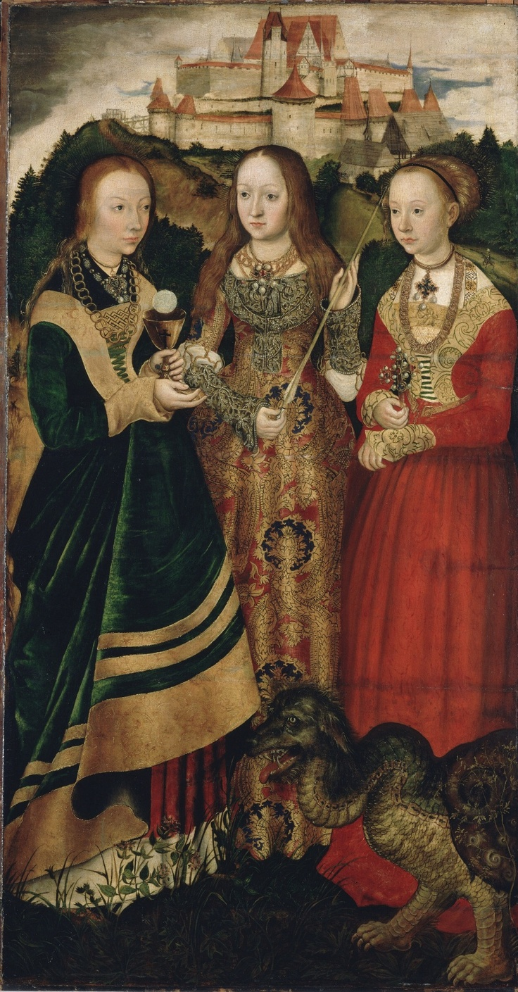 LUCAS CRANACH (1472 - 1553) - St Catherine Altarpiece - 1506. Right wing: The Saint Barbara, Ursula and Margaret. The triptych is located in the Galerie Alte Meister in Dresden, the Reverses of shutters are located since 1987 at the National Gallery in London.