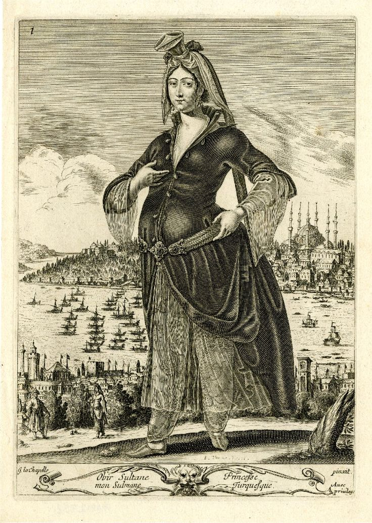 Standing woman, in Turkish costume, with dark coat, see-through skirt and baggy breeches embroidered with flowers; in the background, a view of Constantinople; after La Chapelle. c.1648 Etching