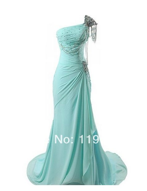 Freeshipping Elegant  Beaded One shoulder Handmade Blue Prom dresses 2014 Mermaid  Floor Length Evening Gowns 2014 New Arrival $119.00