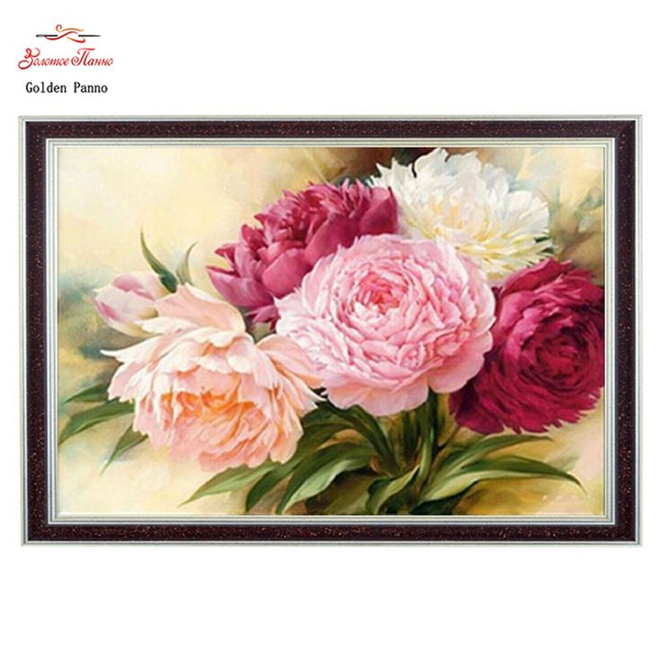 DIY 5D Full Diamonds Embroidery Peony flowers Square 3D Diamond Painting Cross Stitch Kits Diamond Mosaic Home Decoration
