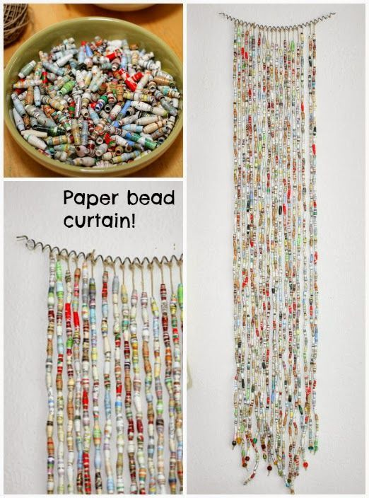 Paper beads (think magazine pages) are easy to make (I made book-page beads a while back) and can have a great visual impact when displayed together ... like this wonderful curtain from Trashy Crafter!  I love the colors :)