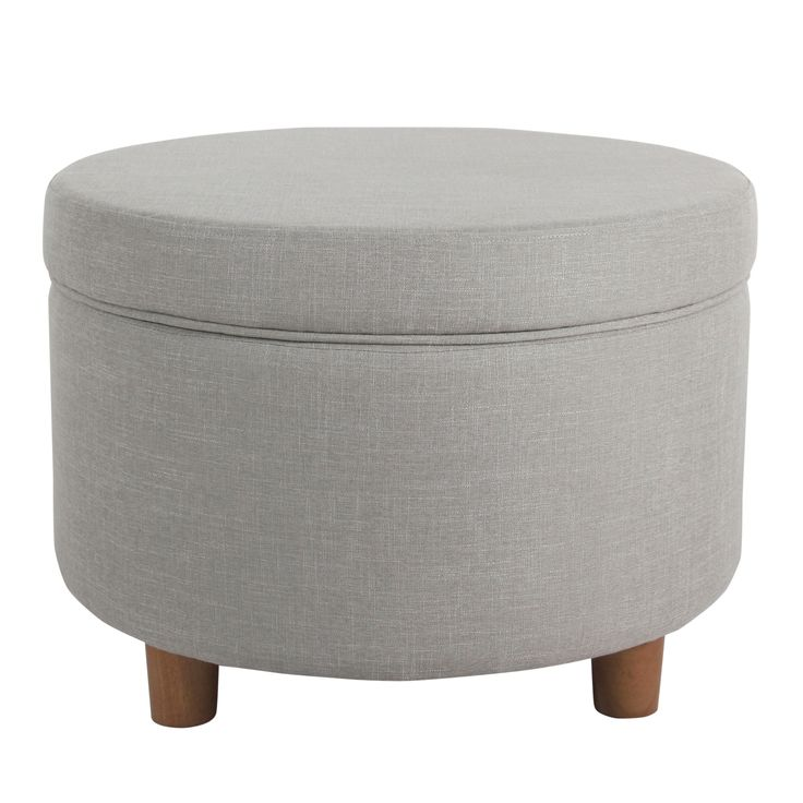 HomePop Round Storage Ottoman - Silver (Silver), Grey, Size Large (Polyester)