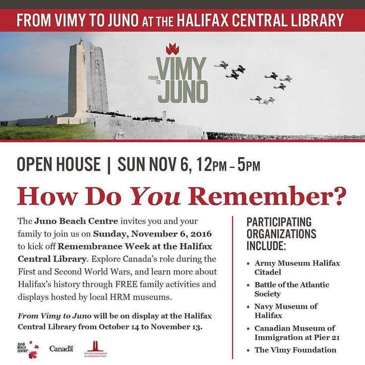 'Til 5 From @junobeachcentre  Halifax today is the day! Stop by the Central Library anytime between 12 pm and 5 pm to learn more about Halifax's role during the First and Second World Wars. Come see From Vimy to Juno as well as artefacts and displays from local HRM museums. It's the perfect way for you and your family to mark the beginning of Remembrance Week! #vimytojuno #vimyajuno #fww #sww #rememberthem #halifax #HRM #YHZ #openhouse #centrallibrary