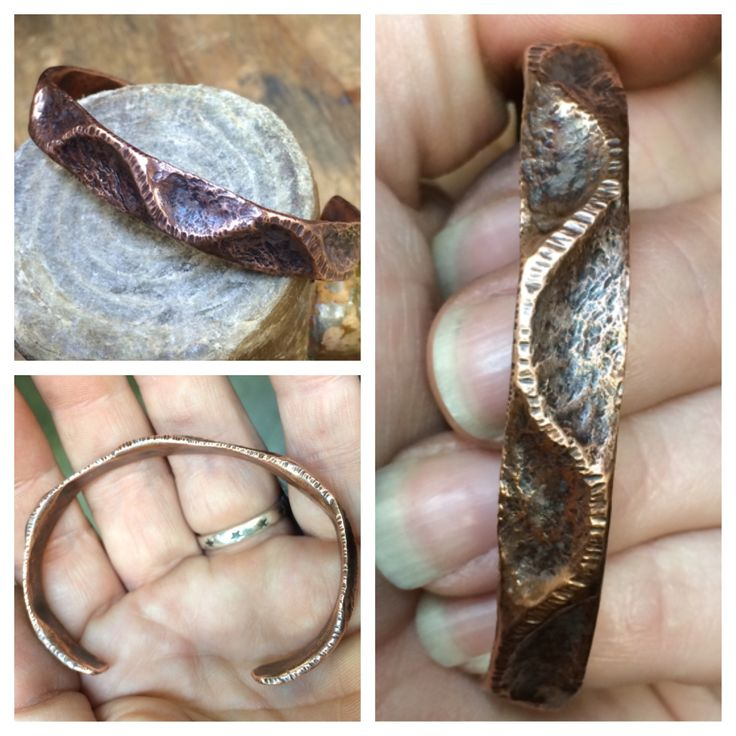 A copper bracelet, made from copper pipe, using a technique called air chasing. I followed a tutorial by Kharisma which can be found here: https://m.youtube.com/watch?v=eZvPYGX9Tbk
