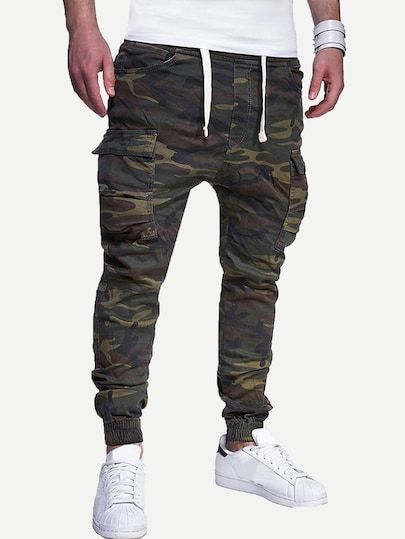 bb24c57994263 Men Pocket Detail Camo Print Pants | SheIn.com Online Shopping ...