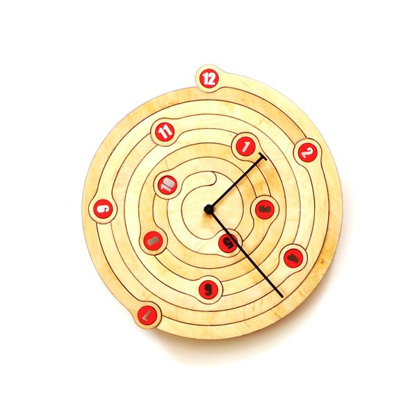 PRODUCTS :: LIVING AND DESIGN :: Accessories and Decorations :: Clocks :: Clocks on wall :: Spiral - unique wall clock made of wood, wooden clock